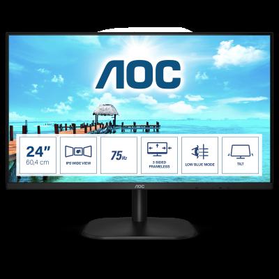 """AOC Basic-line 24B2XHEU LED display 60,5 cm (23.8"""") 1920 x 1080 Pixeles Full HD Negro"""