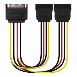 Nanocable Cable SATA Alimentacion SATAM  2xSATAH, 30 cm